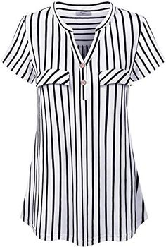 Cestyle Women V-Neck Striped Short Sleeve Blouse Casual Tunic Tops