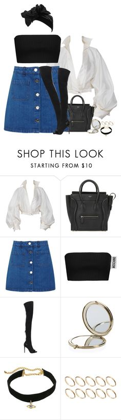 """""""🎶I can be messy, yeah I'll admit 🎶"""" by laprincessanegra ❤ liked on Polyvore featuring Claude Montana, CÉLINE, Miss Selfridge, Moschino, Balmain, Henri Bendel, Rebecca Minkoff, ASOS and Yves Saint Laurent"""