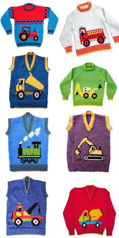 Knitting Pattern for Working Vehicle Sweaters - Children's pullovers with motifs. Knitting Pattern for Working Vehicle Sweaters - Children's pullovers with motifs of fire engine, tractor, cement truck, . Boys Knitting Patterns Free, Baby Sweater Knitting Pattern, Knitting For Kids, Knitting Designs, Baby Patterns, Knitting Charts, Knitting Ideas, Baby Boy Sweater, Knit Baby Sweaters