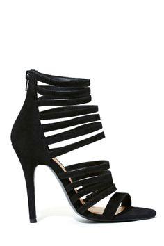 """Shoe Cult: Bella Heel / """"Unleash your inner shoe freak with Shoe Cult! All these styles were designed by Nasty Gal, so you won't find them anywhere else! The perfect faux suede black heels featuring strappy detailing and a zip closure at back. Tapered heel, fully lined. Cushioned insole..."""""""