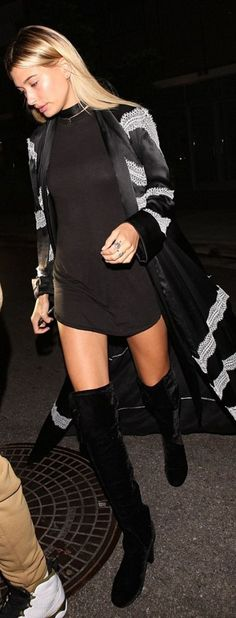 Who made Hailey Baldwin's jewelry, black coat, and thigh high boots? - Celebrity Street Style