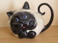 Carlton Ware blue-eyed cat teapot with lid - | eBay