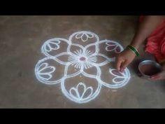 Karthika masam special //padi kolam//pandaga muggulu// easy rangoli//7 - YouTube Rangoli Borders, Rangoli Border Designs, Rangoli Designs With Dots, Rangoli With Dots, Rangoli Ideas, Rangoli Designs Diwali, Kolam Rangoli, Rangoli Simple, Simple Mandala