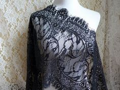 "Black Chantilly Lace Trim 12.6"" wide For Shawls, Shrugs boleros, Black dress, Costume design"