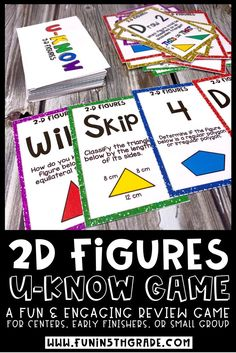 Students will want love to review 2D figures with this fun UKNOW review game!  The perfect geometry activity to use for early finishers, math centers/stations, small groups or indoor recess!  Students will review classifying 2D figures by attributes, determining how many lines of symmetry a figure has, classifying triangles and more!  #2Dfigures #classifyingfigures