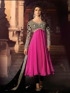 G3Fashions Priyanka Chopra magenta satin unstitched chudidar suit Products code: G3-WSS2856 Price: ₹ 5200.00
