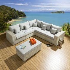 Conservatory / Garden 6 Seater Corner Sofa Set Stone Rattan / Grey L2