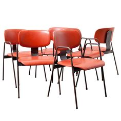 Set of 6 Willy Van Der Meeren F2 Arm Chair By Tubax | From a unique collection of antique and modern armchairs at http://www.1stdibs.com/furniture/seating/armchairs/