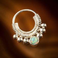 Silver septum opal septum tribal silver septum code by TRIBALIK, $32.00