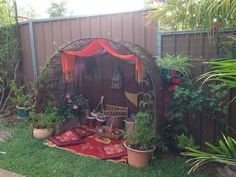 """Musical Cave outdoors from Puzzles Family Day Care ("""",). I'd use it as an outdoor playroom Eyfs Outdoor Area, Outdoor Play Areas, Outdoor Fun, Preschool Garden, Sensory Garden, Natural Playground, Outdoor Playground, Playground Ideas, Outdoor Learning Spaces"""