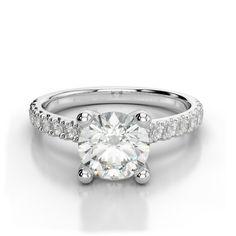 0.90 Carat Diamond Pave Engagement Ring, GIA Diamond Engagement Rings for Women, Raven Fine Jewelers
