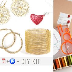 Wire crochet starter kit , video tutorials , supply and tools