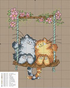 Cats on swing Beaded Cross Stitch, Crochet Cross, Cross Stitch Baby, Cross Stitch Animals, Cross Stitch Charts, Cross Stitch Designs, Cross Stitch Embroidery, Hand Embroidery, Cross Stitch Patterns