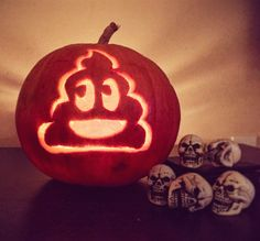 @MILES_AWAYFROM just carved this bad boy myself, POOP EMOJI PUMPKIN CARVING…