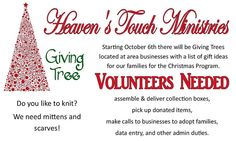 Heavens Touch Ministries is a non-profit for women and children. The Giving Tree is a valuable program during the holidays.