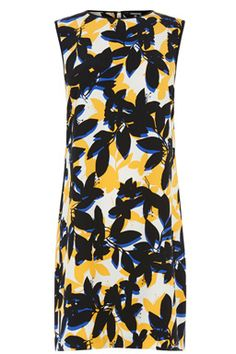 This sleeveless dress is constructed from a lightweight woven fabric and features a round neck, shift cut, all-over floral print and concealed zip fastening at the nape. Length of dress, from shoulder seam to hem, 91cm approx. Height of model shown: 6ft inches/183cm. Model wears: UK size 10.Fabric:�Main: 100.0% Viscose.Wash care:�Machine WashProduct code: 02351599 Price: �42.00