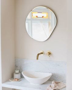 We typically start and end our day in front of the bathroom mirror - so why not make it a beautiful one? Backlit Bathroom Mirror, Bathroom Mirror With Shelf, Funky Mirrors, Mirrors For Sale, Bathroom Inspiration, Home Decor Inspiration, Bathroom Ideas, Photo Wall Hanging, Oeuvre D'art