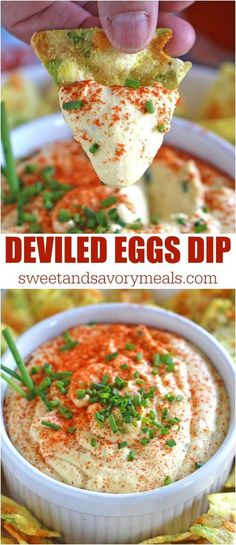 Deviled Eggs Dip with paprika and chives is a great way to use leftover eggs. Creamy, just a bit spicy, this is an easy and delicious appetizer. #sweetandsavorymeals #easyrecipes #appetizerrecipes #easydeliciousrecipes