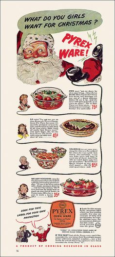 Santa wants to know what us gals want for Christmas. #Pyrex #1940s #vintage #Christmas #ads
