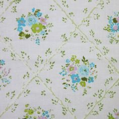 1960's vintage fabric fat quarter (tiny blue violet and green flowers in leafy diamonds)
