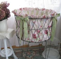 Items similar to Treasury Item-Vintage French Metal Wire Folding Laundry Basket with Handmade Ruffled Pink Roses Liner - Shabby French Farmhouse Cottage on Etsy Vintage Shabby Chic, Shabby Chic Decor, French Vintage, Folding Laundry Basket, Laundry Hamper, Laundry Rooms, Smelly Laundry, Laundry Cart, Vintage Laundry