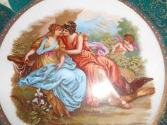Vintage Maiden Cherub Gilded Porcelain unmarked plate lesbian interest kissing for sale tmmassari@aol.com  SOLD #porcelain plate