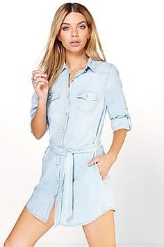 Linda Denim Button Through Shirt Dress