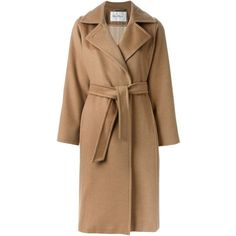 Max Mara belted overcoat (160.370 RUB) ❤ liked on Polyvore featuring outerwear, coats, jackets, maxmara, over coat, maxmara coat, brown coat and belted coat