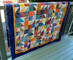 My own design, I have used a lovely assortment of scraps from other quilts to make this stunning and colourful scrappy lap or single bed quilt. This