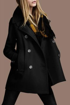 Turn-down Collar Long Sleeve Double-breasted Outerwear