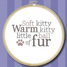 Soft Kitty Quote - Cross Stitch Chart