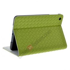 Weaving Pattern Flip Stand Leather Case for iPad Mini - Green US$13.99