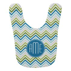 Teal And Lime Green Chevron Pattern Plus Monogram Baby Bibs | Teal And Lime Green Chevron Pattern Plus Monogram Bib Designs