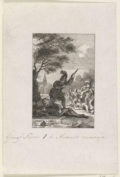 Reinier Vinkeles | Moord op Floris I, 1061, Reinier Vinkeles, Cornelis Bogerts, Jacobus Buys, 1780 - 1795 | Graaf Floris I wordt op 28 juni 1061 te Nederhemert slapend onder een boom vermoord.