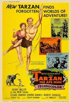Tarzan, the Ape Man (1959) Tarzan Actors, Tarzan Movie, Tarzan Of The Apes, Jungle Jim's, Romantic Comedy Movies, Fantasy Movies, Fantasy Art, Adventure Movies, Romantic Couples