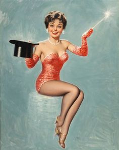 - The Swami Told Me. Artist: Walt Otto - Full view of oil on canvas published pin-up painting Pin Up Vintage, Vintage Ladies, Gil Elvgren, Pin Up Dresses, Dresses For Sale, Derby, Pin Up Illustration, Comic Illustrations, Illustration Pictures