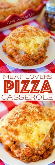 Meat Lovers Pizza Casserole - a family favorite!!! Lean ground beef, sausage, pepperoni, pasta sauce, mozzarella cheese, pizza dough and parmesan cheese. Can add your favorite veggies too! Everyone loved this! There weren't any leftovers!! YUM!