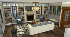 Sims 4 House Design, Sims Ideas, Sims 4 Build, Sims 4 Houses, Long A, Bookcase, Room Ideas, Rooms, Shelves
