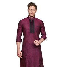 Magenta Remi Linen Readymade Kurta with Aligarh Pajama