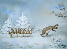 Christine Rijmenants: Aquarel.Vele kleintjes ...soms vermoeiend ,soms leuk. slee winterlandschap dennen spar konijntjes sneeuw grappige beestjes.