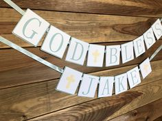 God Bless Baptism Banner - Custom Name Banner - Christening Banners for Baby Boy - Blue Banners - Baptism Garland - Confirmation Banner Christening Banner, Name Banners, Kid Names, Cat Friendly Home, Boy Blue, Something Beautiful, Color Schemes, Blessed, Baby Boy
