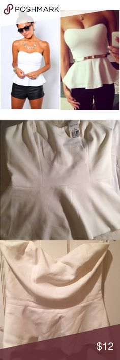 NWT Cream Peplum Tube Top NWT cream peplum tube top. Dress it up with a belt or wear it casual as picture. Brand new never worn with zip closure in back. Size Large. Sweetheart neckline no trades, simply sales only. Forever 21 Tops Tank Tops