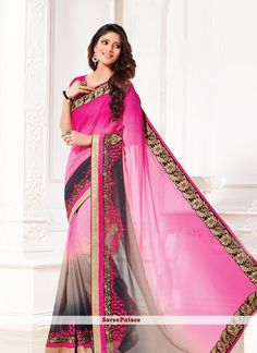 Fuchsia And Grey Shaded Designer Embroidered Saree