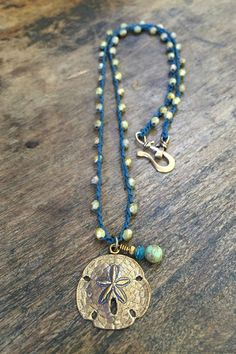 Sand Dollar Knotted Crochet Necklace by TwoSilverSisters on Etsy