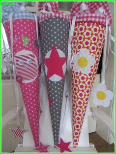 Schultüte aus Stoff Grau Weiß mit Pinkem Stern, Color: pink und hellgrau