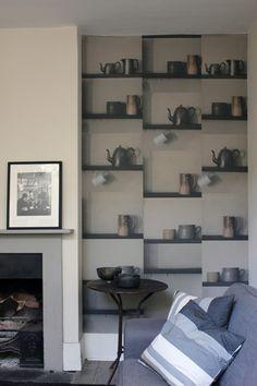 Deborah Bowness London Bric-aBrac Shelf photographic wallpaper |  Remodelista