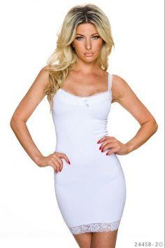 Αμάνικο μίνι φόρεμα με δαντέλα - Άσπρο