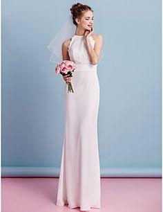 Lanting Bride® Fourreau / Colonne Robe de Mariage  Longueur Sol Bijoux Mousseline de soie / Dentelle avec Dentelle / Ceinture / Ruban