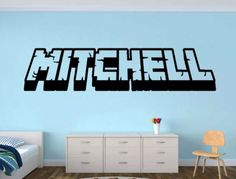 Personalized Gamer Name wall decal - Minecraft Player Unofficial Inspired Decal - 3d looking Gamer Room Wall Vinyl Decal Sticker by WordFactoryDesign on Etsy https://www.etsy.com/listing/254587508/personalized-gamer-name-wall-decal