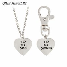 """1.59$  Watch now - QIHE JEWELRY 2pcs/set """"I love my dog,I love my owner"""" Heart Charm Necklace And Collar Dog-Human Jewelry Dog Lover Gifts   #buyonline"""